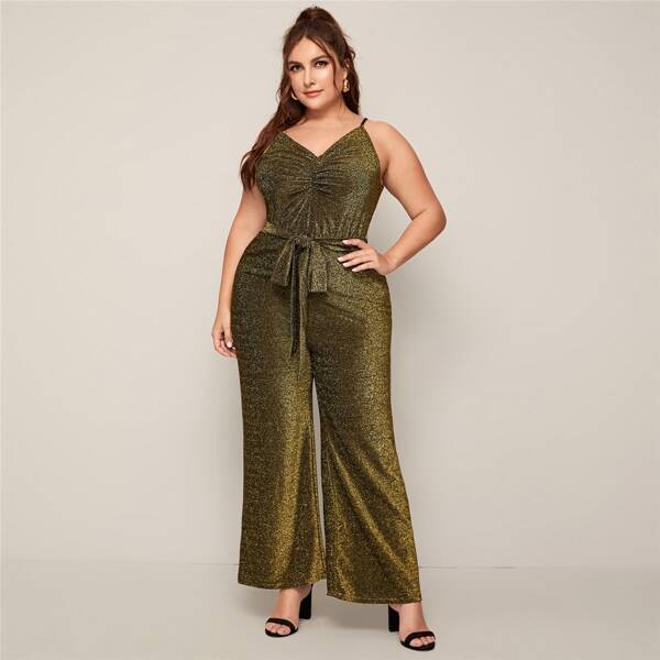 Plus Ruched Neck Wrap Back Wide Leg Glitter Cami Jumpsuit, Gold