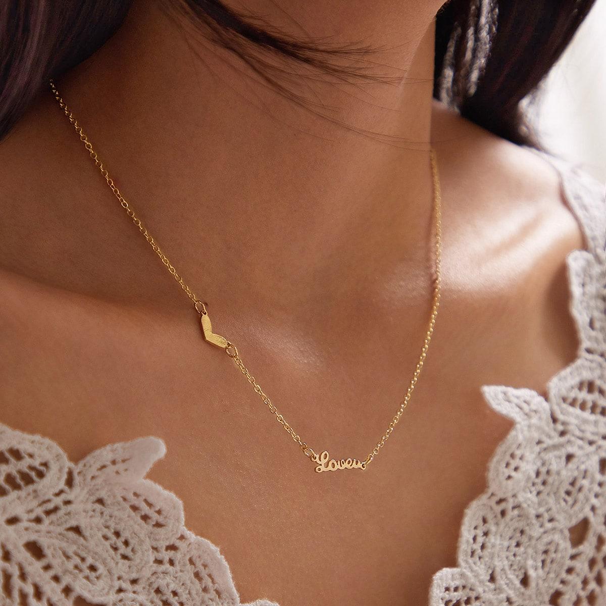 1pc Heart & Letter Decor Necklace