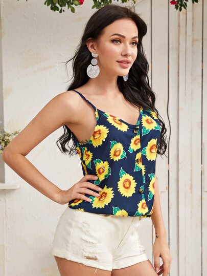 Sunflower Print Button Front Cami Top