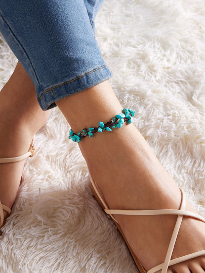 1pc Turquoise Decor Braided Anklet
