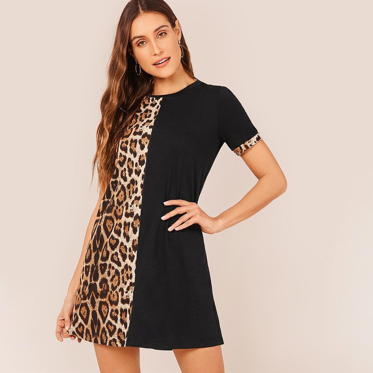Cut-and-sew Leopard Dress