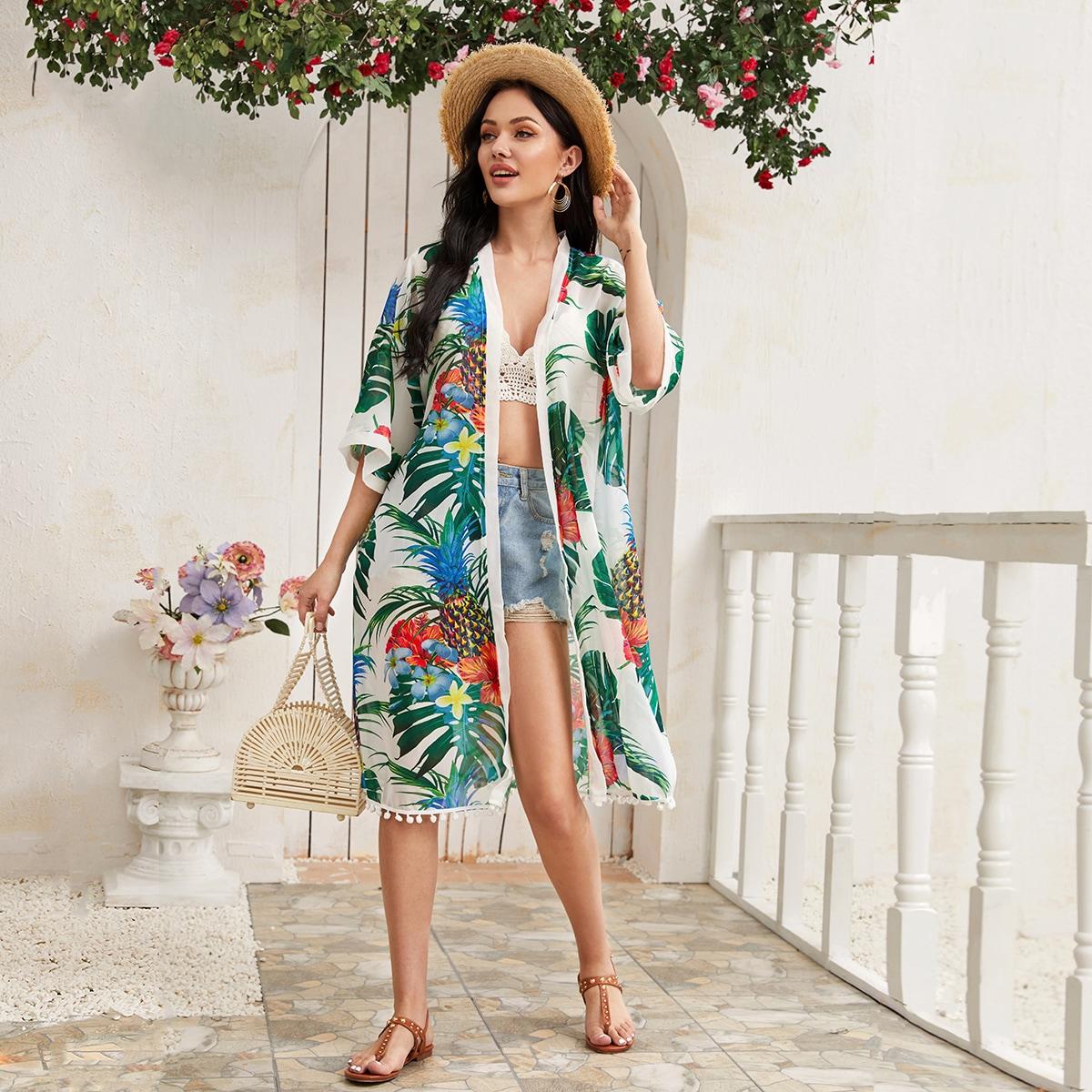 Chiffon Kimono mit tropischem Muster und Pompons