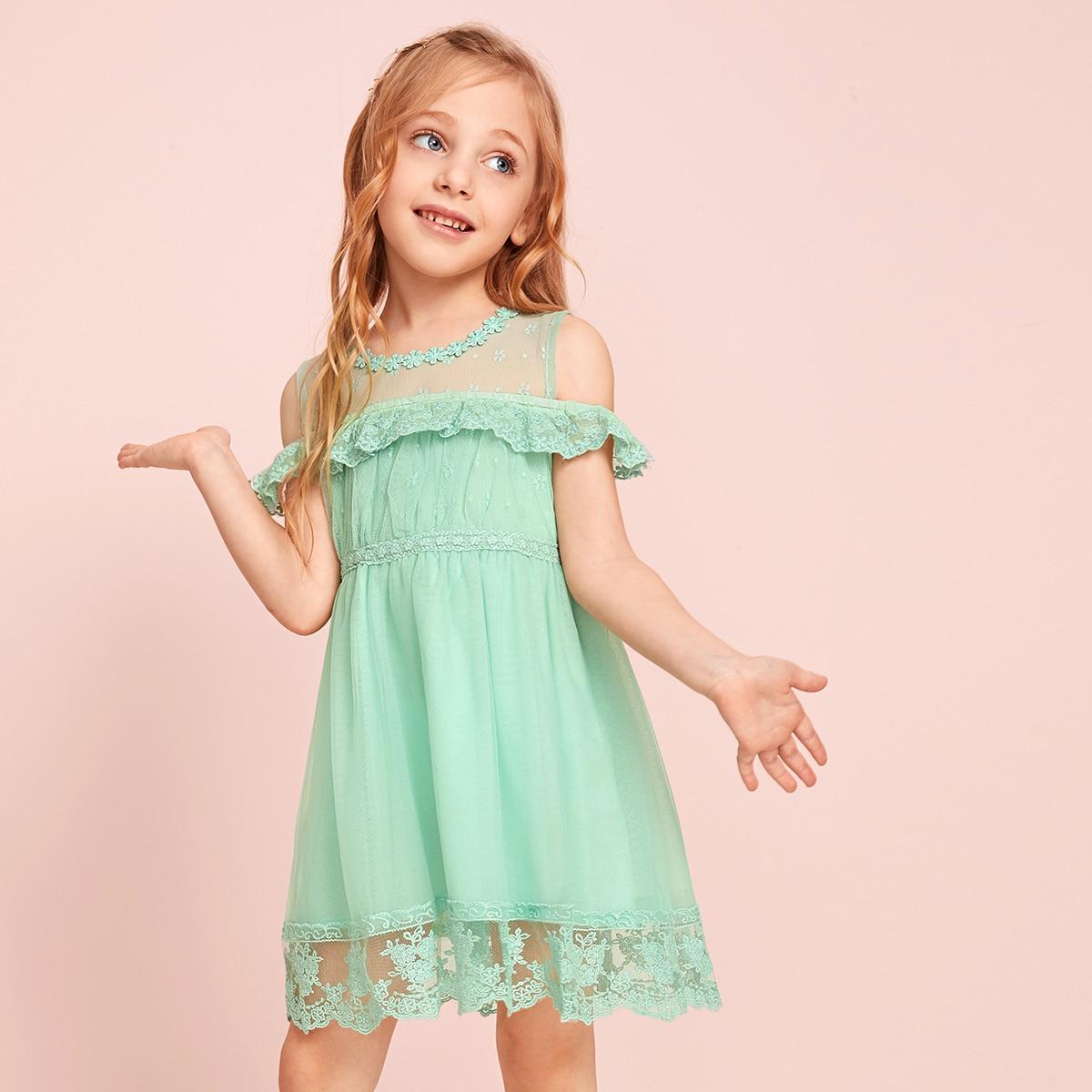 Сетчатое платье с оборками и кружевной отделкой для девочек