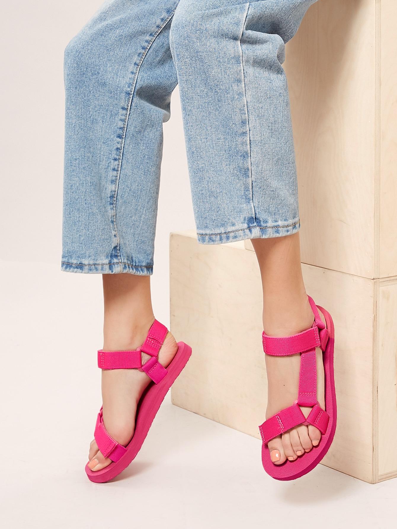 Neon Twin Velcro Band Open Toe Foam Sandals thumbnail