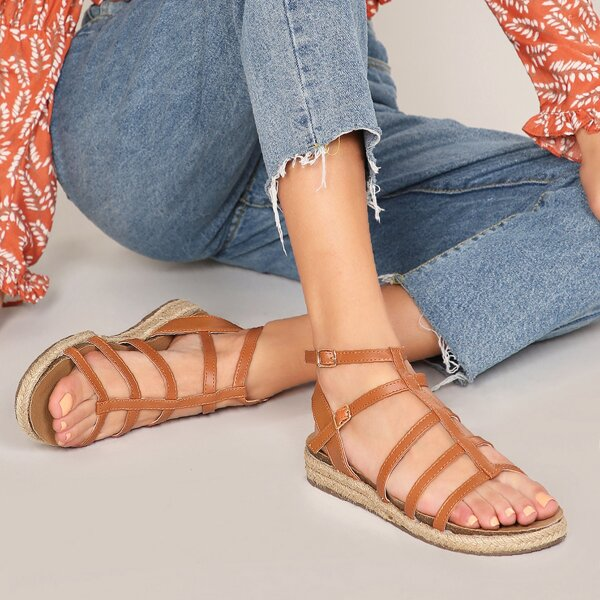 Open Toe Double Buckle Strappy Gladiator Sandals, Brown