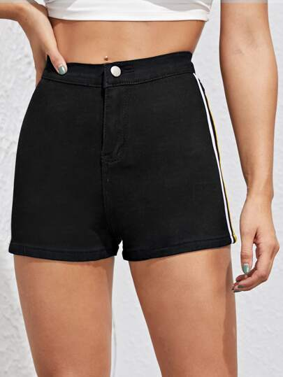Tape Side Button Fly Denim Shorts