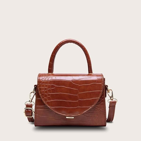 Croc Embossed Satchel Bag, Brown
