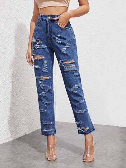 Distressed Ripped High Rise Mom Jeans