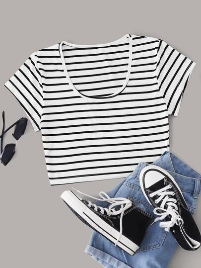 Striped Scoop Neck Crop Tee