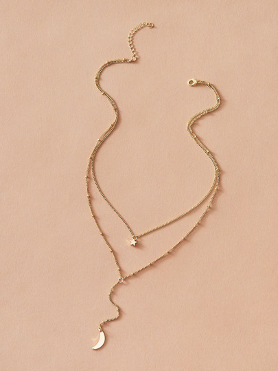 1pc Star & Moon Charm Layered Y Lariat Necklace