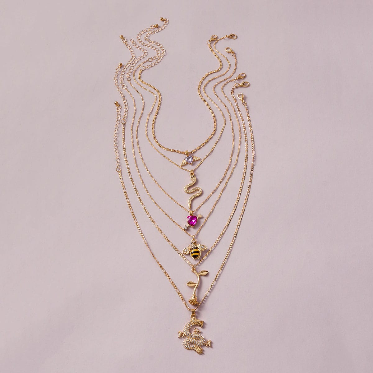 6pcs Rose & Bee Charm Necklace