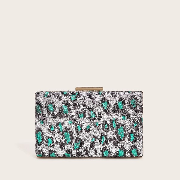 Sequin Decor Chain Clutch Bag
