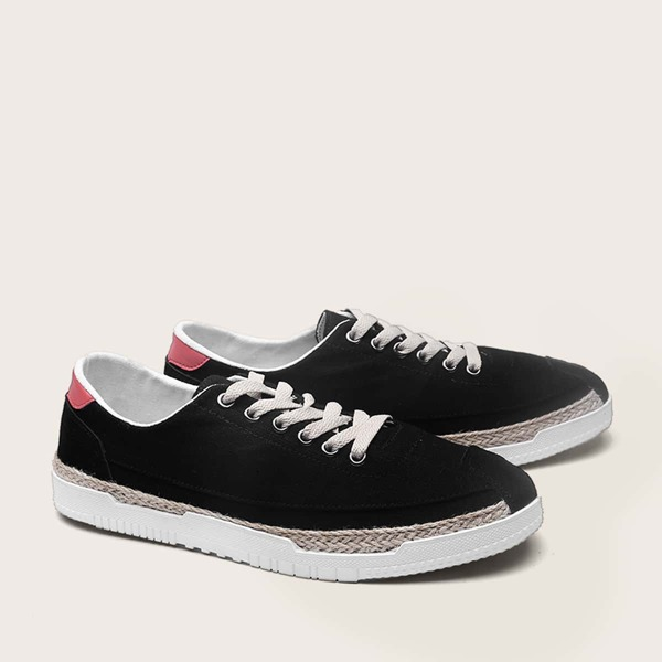 Men Canvas Lace-up Front Wide Fit Sneakers, Black