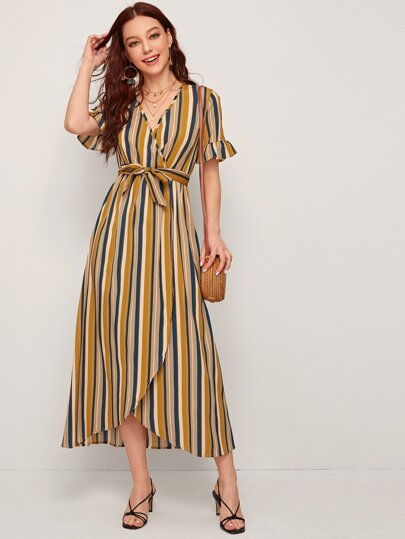 Striped Belted Flounce Sleeve Wrap Dress