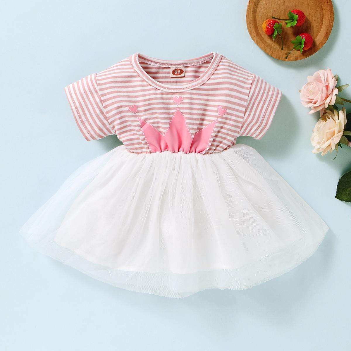 Полосатое платье с принтом для девочек от SHEIN