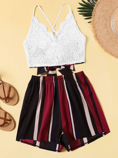 Contrast Lace Tie Back Cami Top With Striped Shorts
