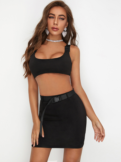 Buckle Strap Crop Tank Top & Belted Skirt