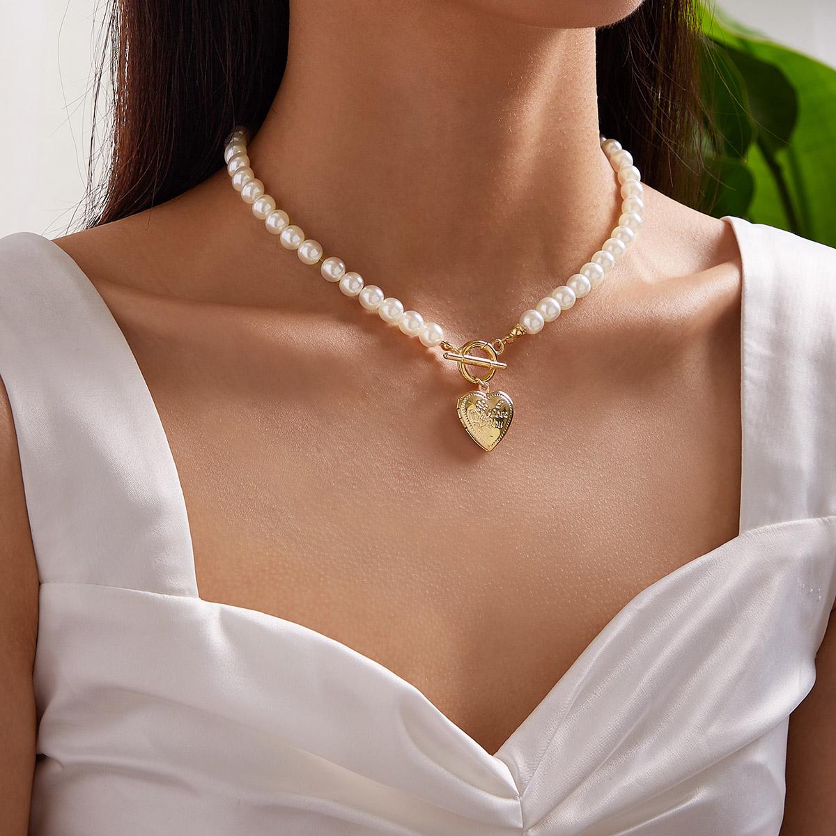 1c Сердце Ожерелье с подвеской из искусственного жемчуга