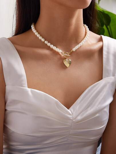 1c Heart Charm Faux Pearl Decor Necklace