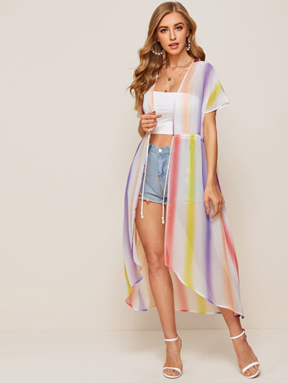 Colorful Striped Drawstring Waist Chiffon Longline Kimono