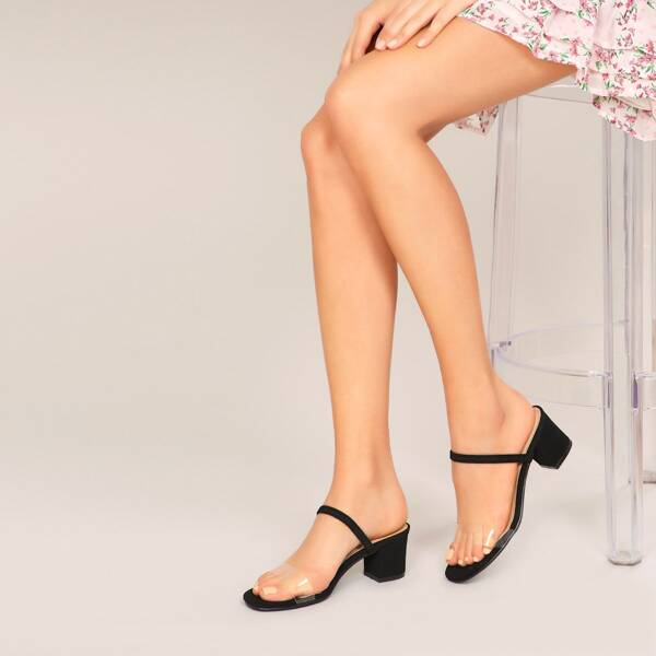 Clear Open Toe Band Slingback Low Block Heels, Black