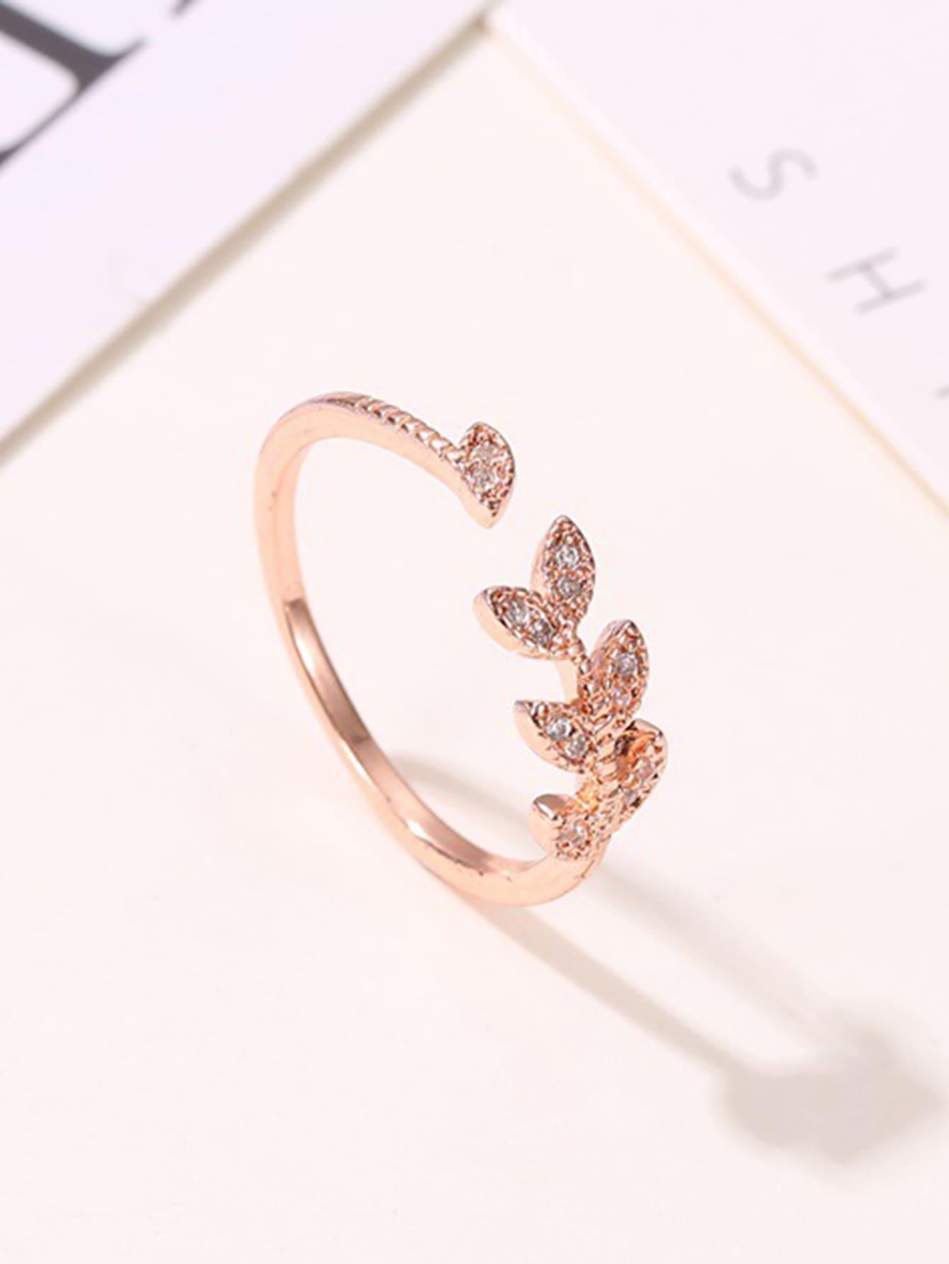 1pc Rhinestone Decor Leaf Design Cuff Ring thumbnail