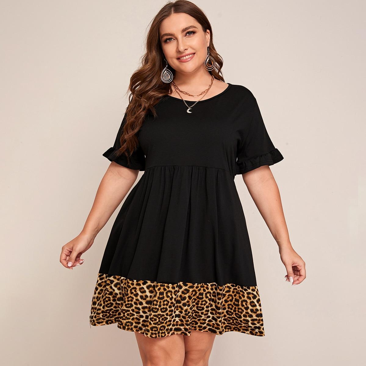 Платье размера плюс с леопардовым краем и оригинальным рукавом