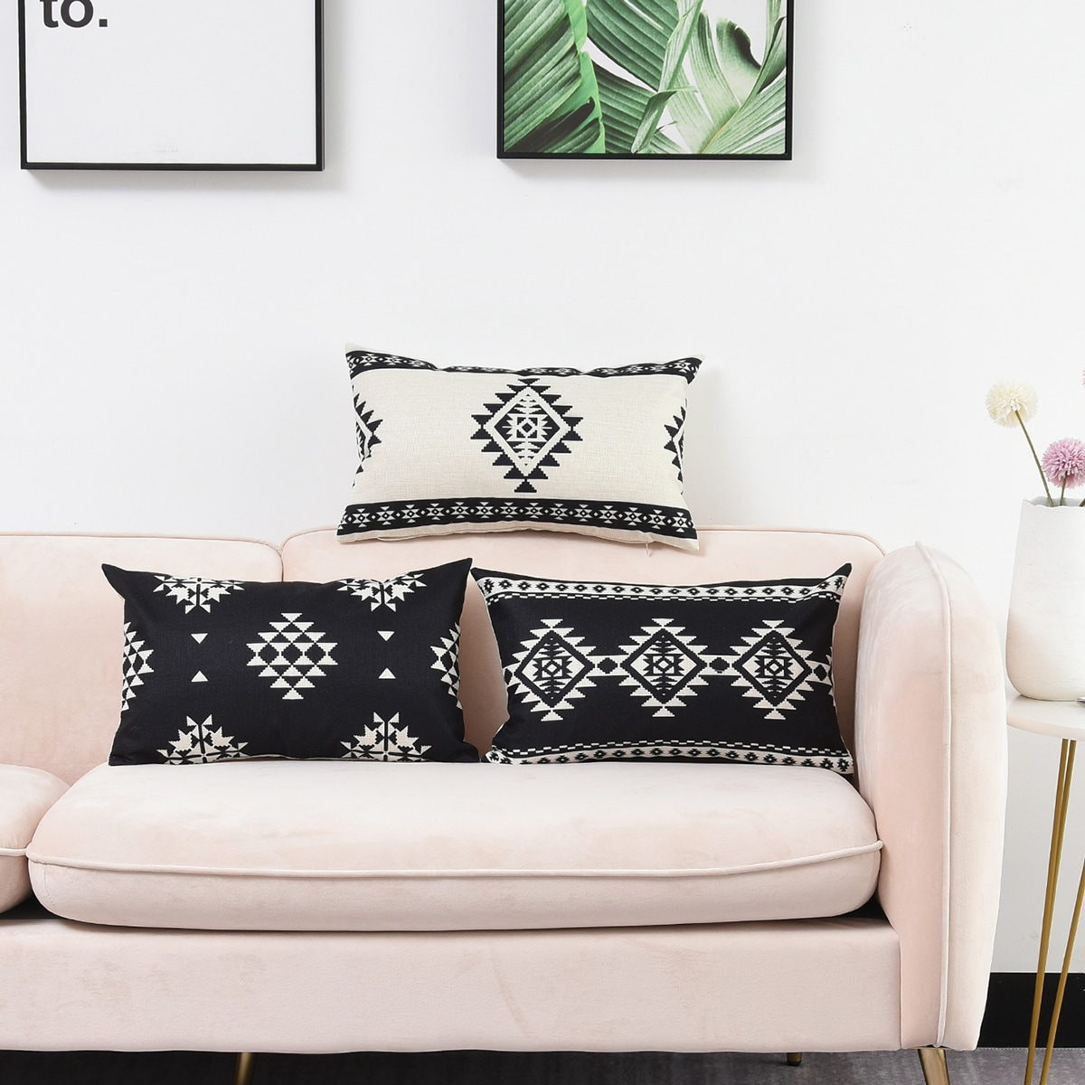 1pc Geometric Pattern Lumbar Pillow Cover Without Filler