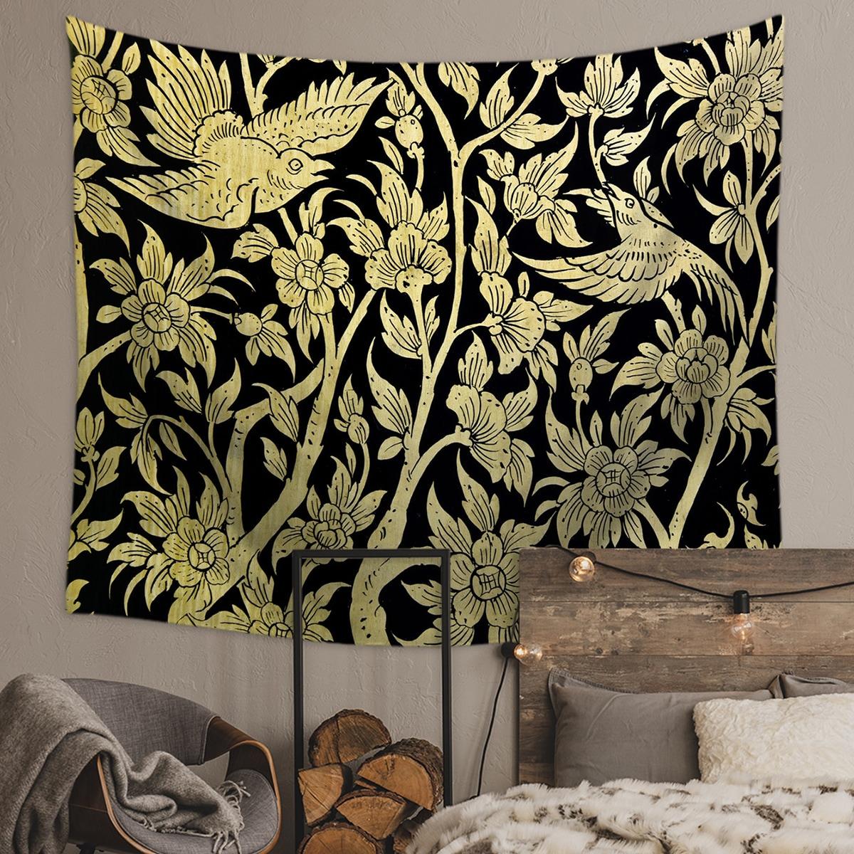 1pc Tapisserie mit Vogel- und Blumendruck