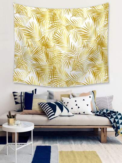 1pc Leaf Overlay Print Tapestry