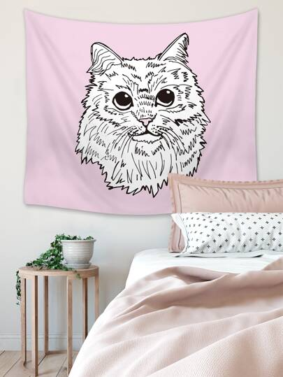 1pc Cat Print Tapestry
