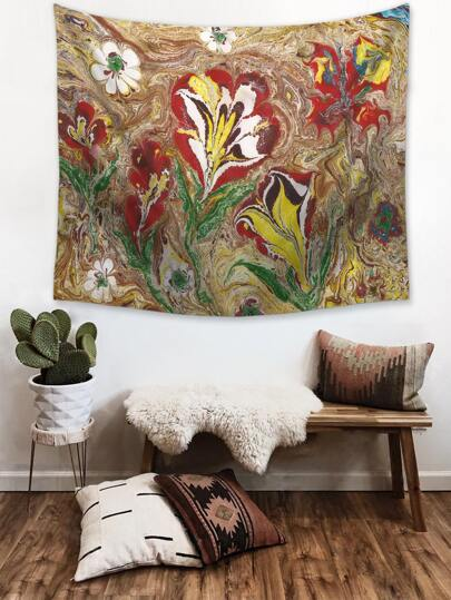 1pc Flower Print Tapestry