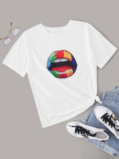 Colorful Mouth Print Short Sleeve Tee