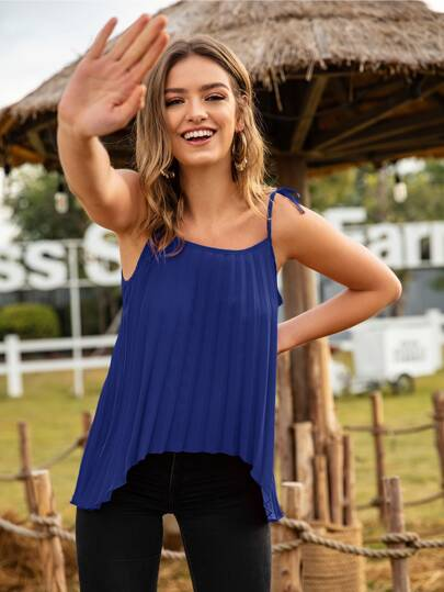 Plisse High Low Hem Knotted Cami Top