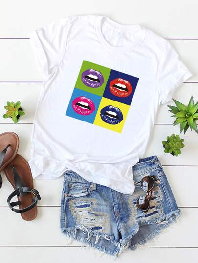 Plus Mouth Graphic Round Neck Tee