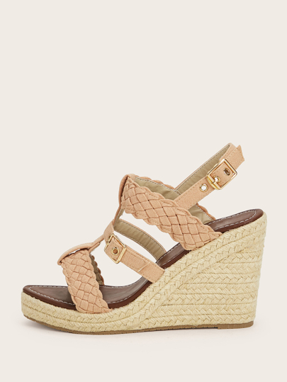 Braided Strap Espadrille Slingback Wedges