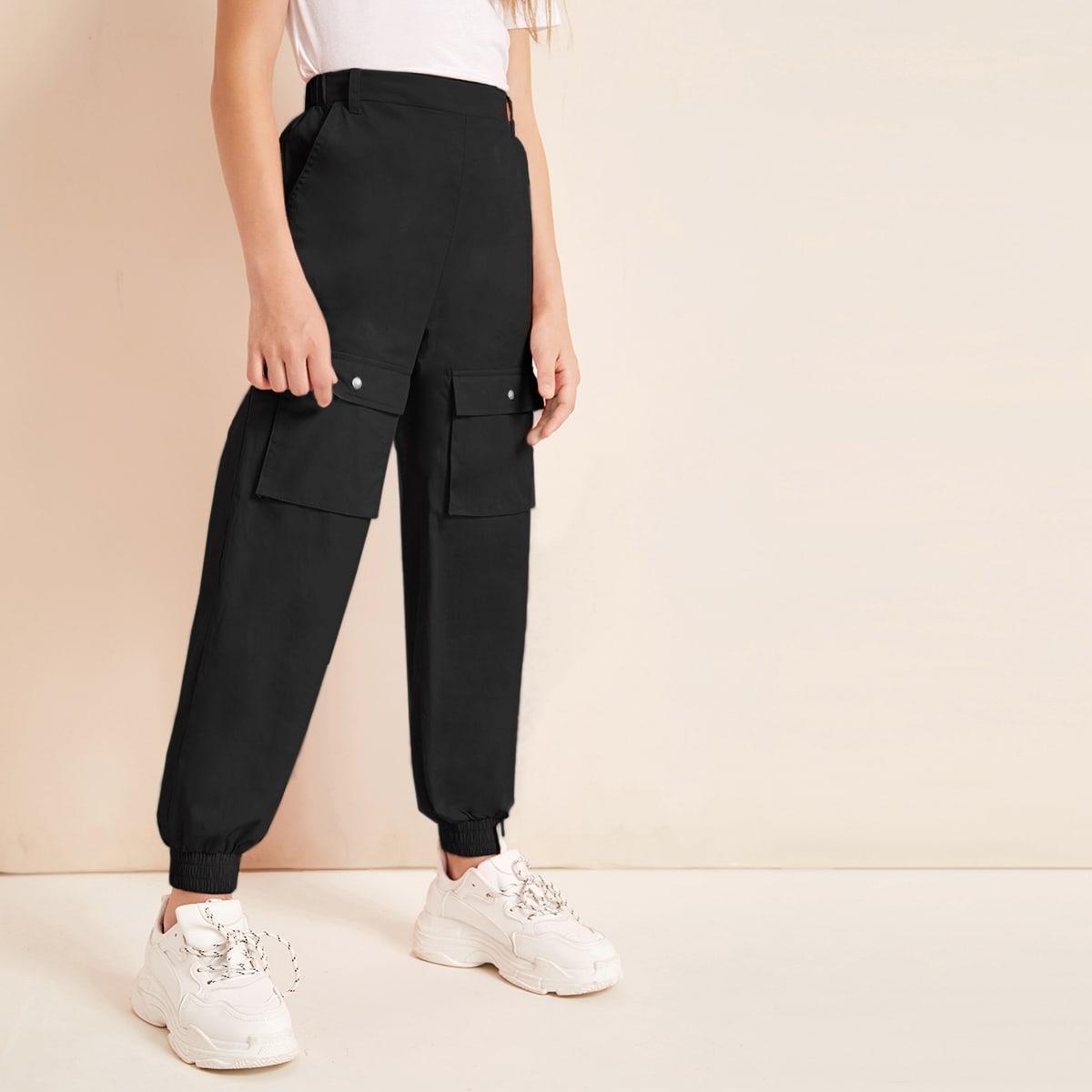 Однотонные брюки с карманом для девочек