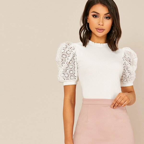 Frilled Neck Guipure Lace Puff Sleeve Rib-knit Top, White