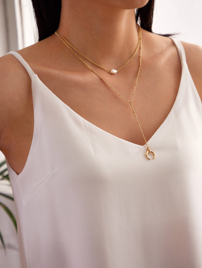 1pc Faux Pearl & Horn Charm Layered Y Lariat Necklace