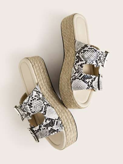 Snakeskin Buckle Strap Espadrille Wedges Mules