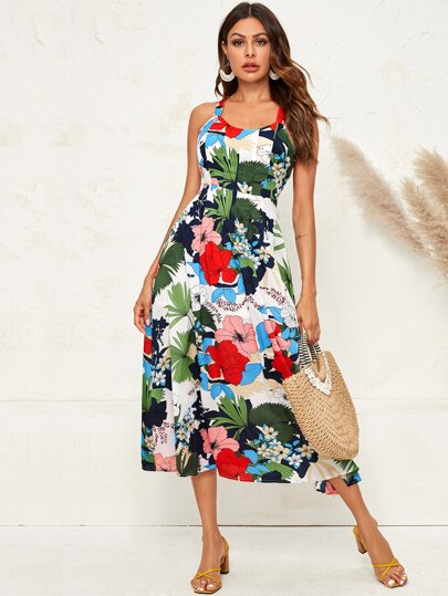 Floral Print Crisscross Back Cami Dress