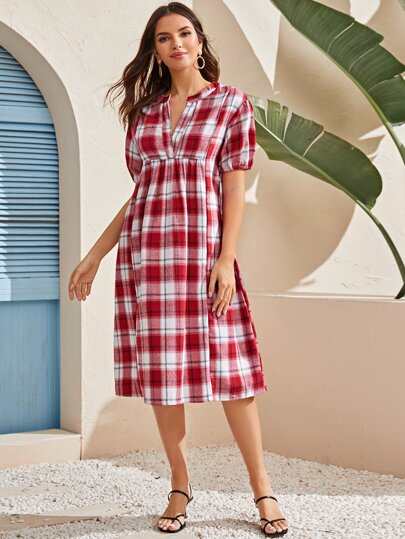 Plaid Notch Neck Smock Dress