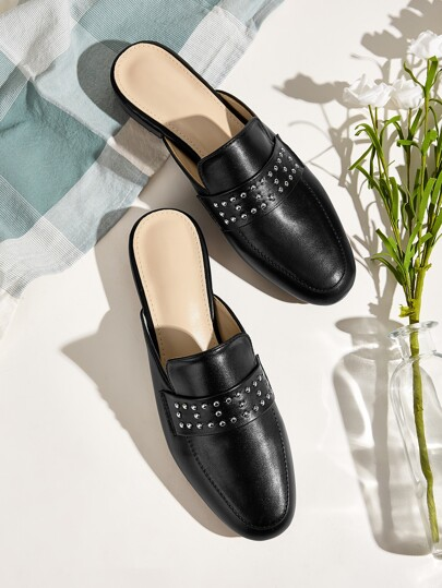 Decor Studded Decor Loafers Mules