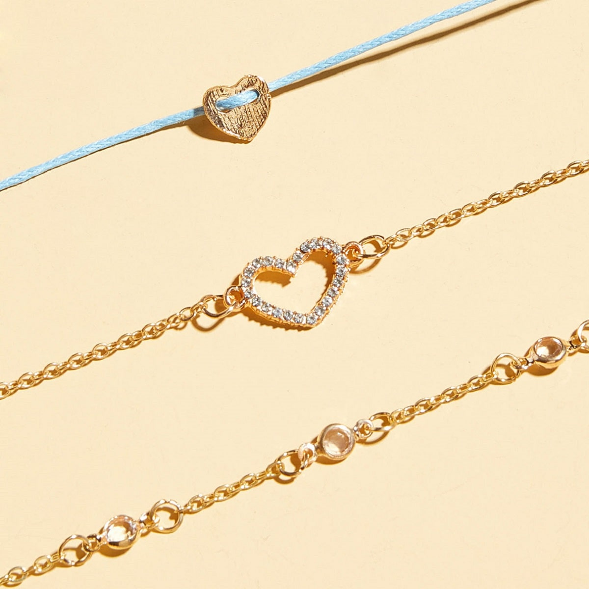 3 Stücke Strass Graviertes Herz Dekor Armband