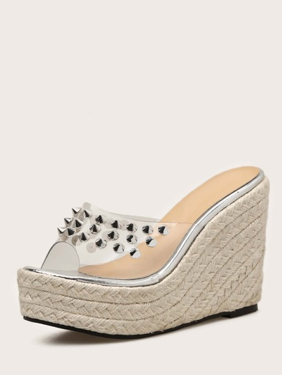 Spiked Decor Peep Toe Clear Espadrille Wedge Mules