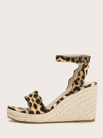 Leopard Ankle Strap Espadrille Wedges