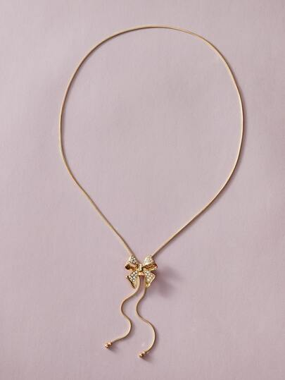 1pc Bow Charm Metallic Necklace