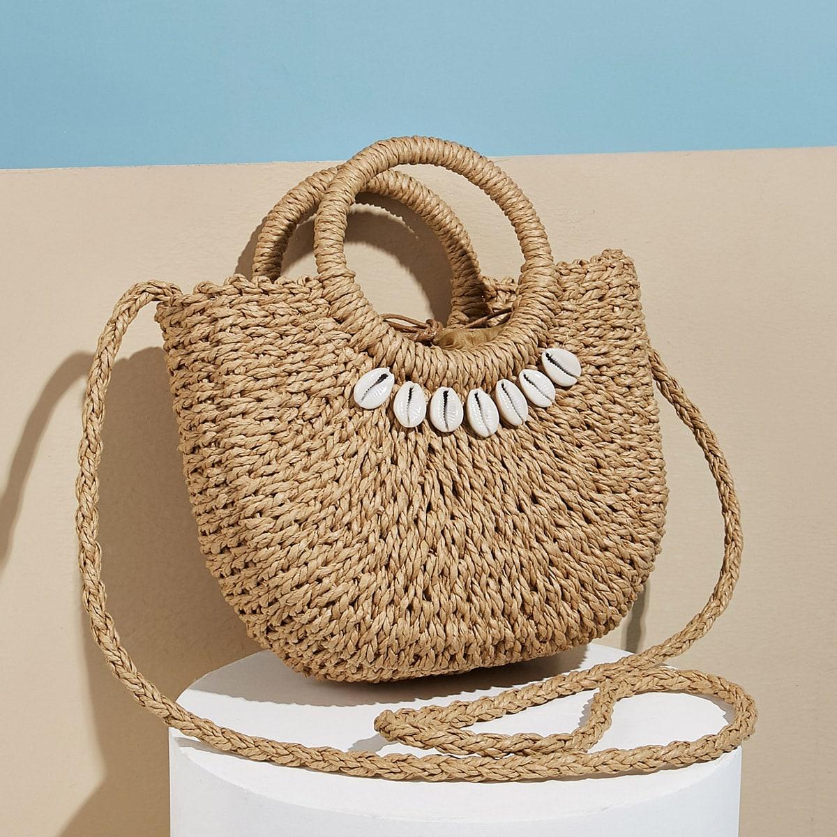 Плетеная сумка-сэтчел с ракушкой