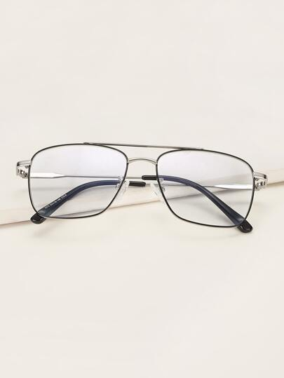 Top Bar Metal Frame Glasses With Case