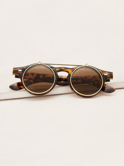 Tortoiseshell Round Frame Opened Sunglasses With Case